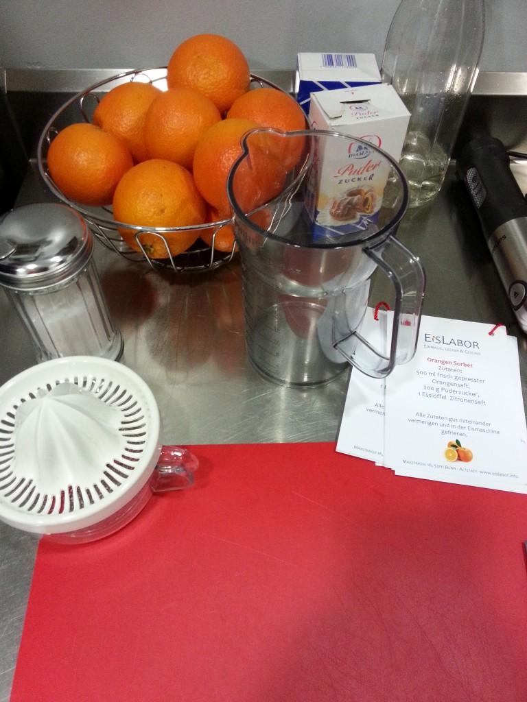 Zutaten für das Orangensorbet