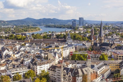 aerial of Bonn, the former capital of Germany